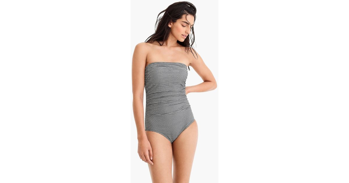 e5e839525f511 Lyst - J.Crew Gingham Ruched Bandeau One-piece Swimsuit in Black - Save 17%