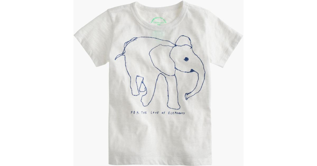 1634dfd1ab5daa Lyst - J.Crew Girls  Crewcuts For David Sheldrick Wildlife Trust Elephant T- shirt in White