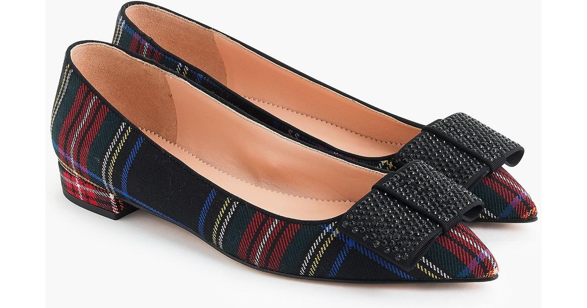 J.Crew Pointed-toe flats with bow in tartan women new in box $158