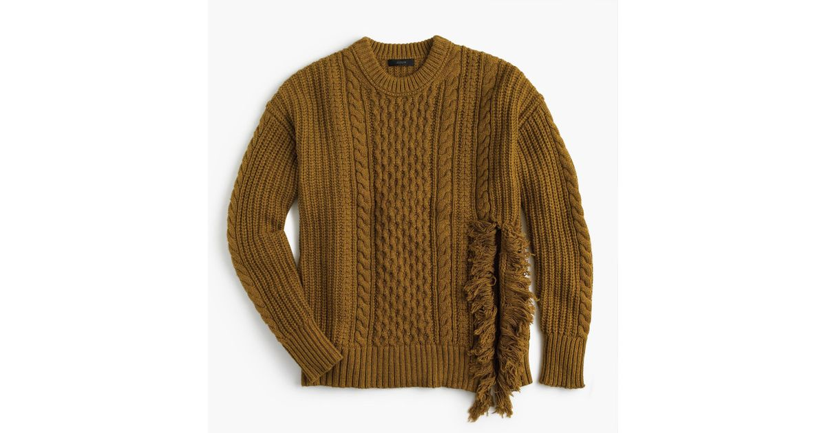 2b51a7dd3308dc Lyst - J.Crew Cableknit Sweater With Fringe