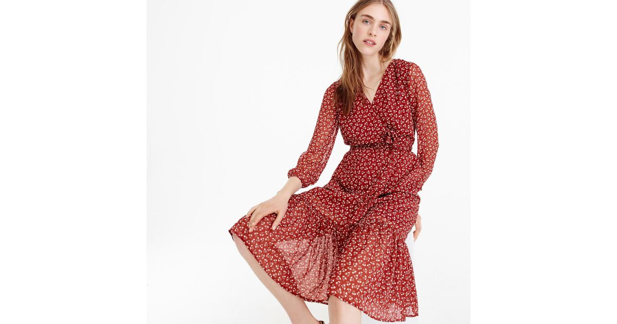 817b7a527c J.Crew Point Sur Faux-wrap Dress In Sparkle Floral in Red - Lyst