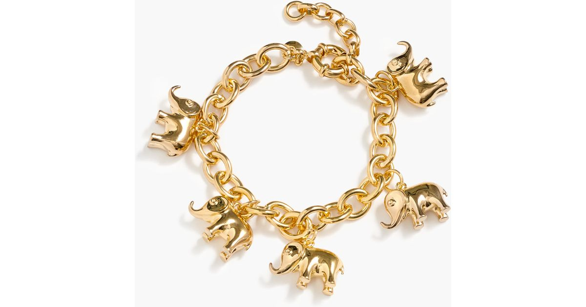 Lyst J Crew For David Sheldrick Wildlife Trust Elephant Charm Bracelet In Metallic