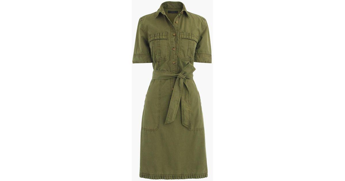 bb1d27aac2 J.Crew Ruffle-hem Utility Dress in Green - Lyst