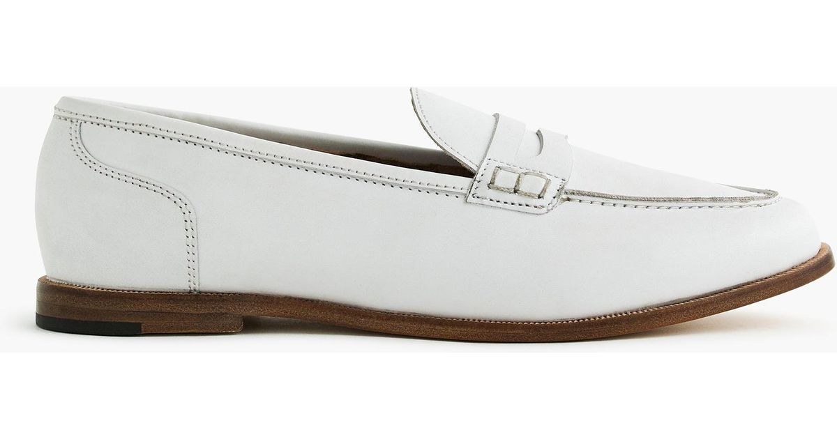 6280977ab12 Lyst - J.Crew Ryan Penny Loafers In Leather in White - Save 48%
