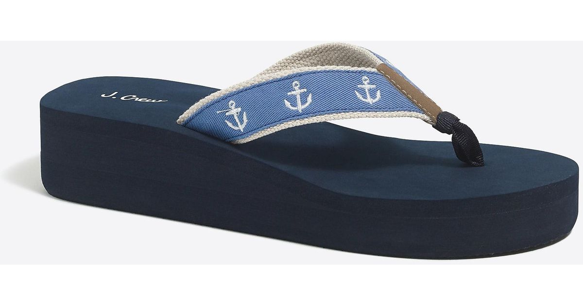 0d5bfde5e2235 Lyst - J.Crew Embroidered Wedge Flip-flops in Blue
