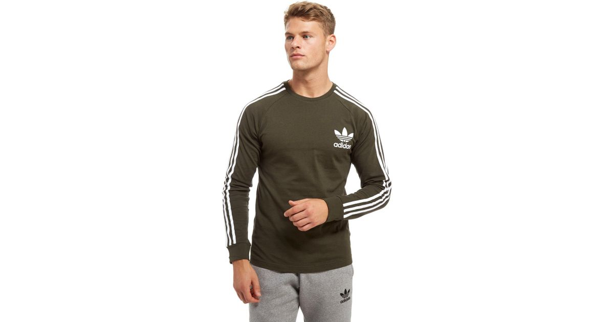 100% top quality new release united states Adidas Originals Green California Long Sleeve T-shirt for men
