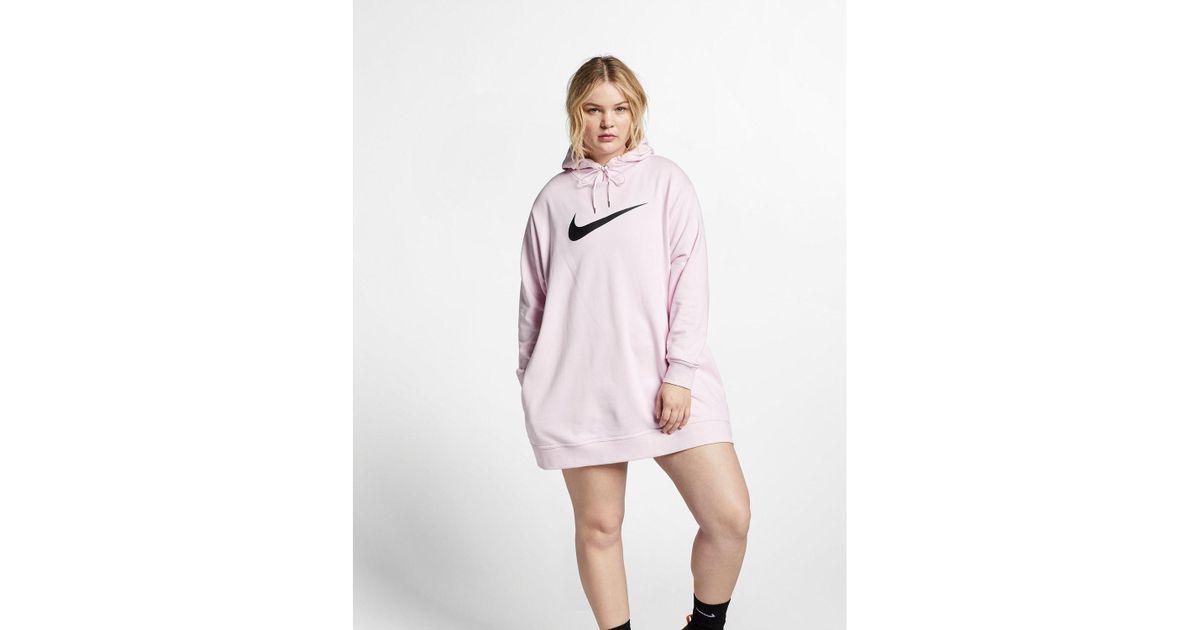 nike pink swoosh hoodie dress
