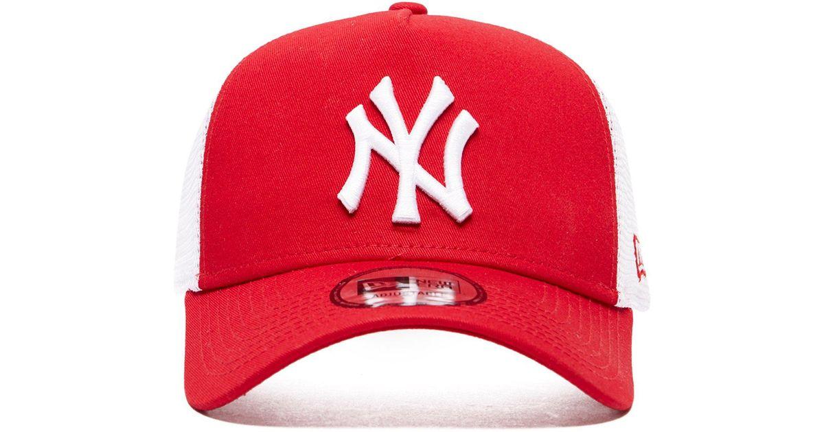 san francisco 23114 12a9c ... hot lyst ktz mlb new york yankees snapback trucker cap in red 2a902  2c83a