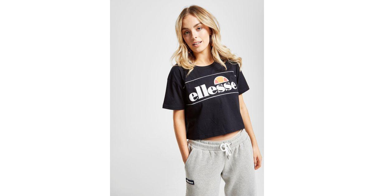 ca3518a6de Ellesse Black Piping Panel Crop T-shirt