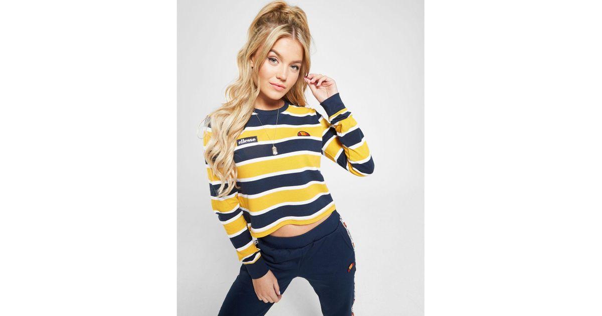 Ellesse Blue Pique Stripe Long Sleeve T shirt