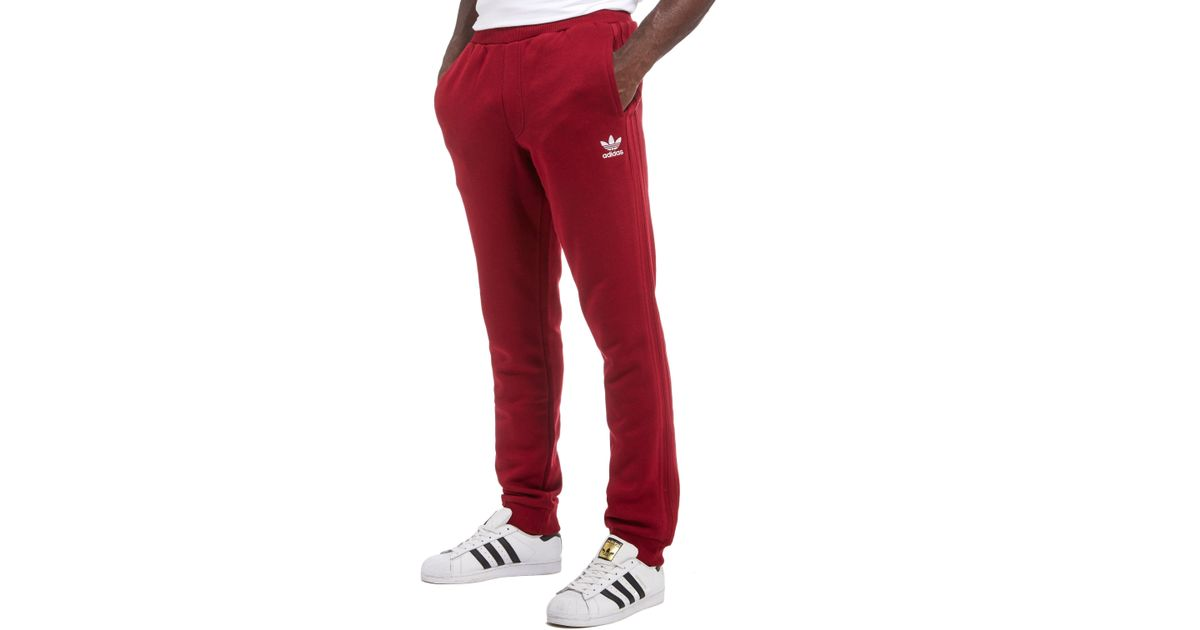Lyst - adidas Originals Trefoil Full Length Pants in Red for Men 47b143d623f