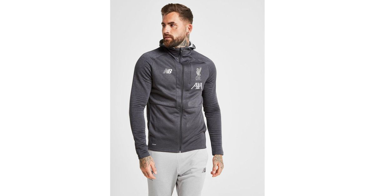 New Balance Synthetic Liverpool Fc Travel Hoodie In Black Silver Black For Men Lyst