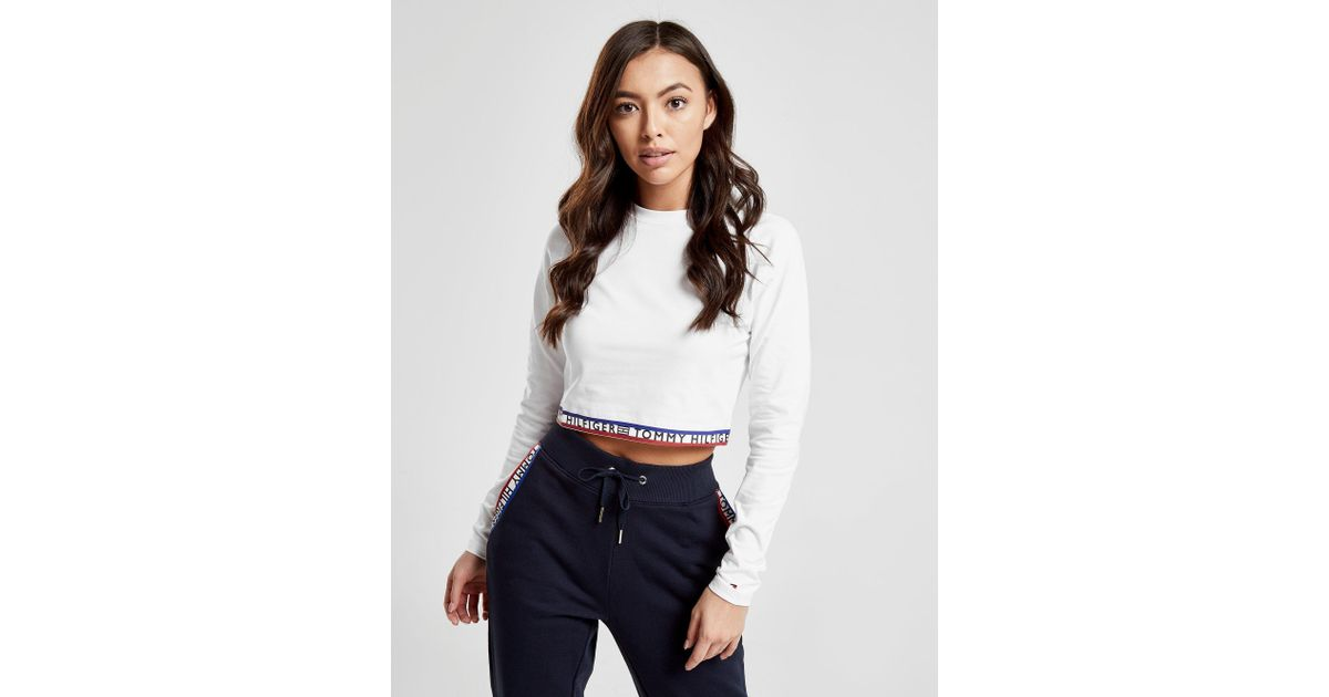 749df20b Tommy Hilfiger Tape Long Sleeve Crop T-shirt in White - Lyst