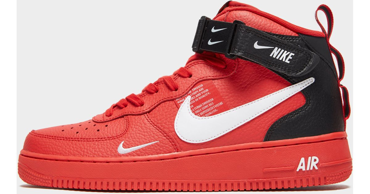 newest 91db2 19fb1 Nike Air Force 1 07 Mid Lv8 Shoe in Red for Men - Lyst