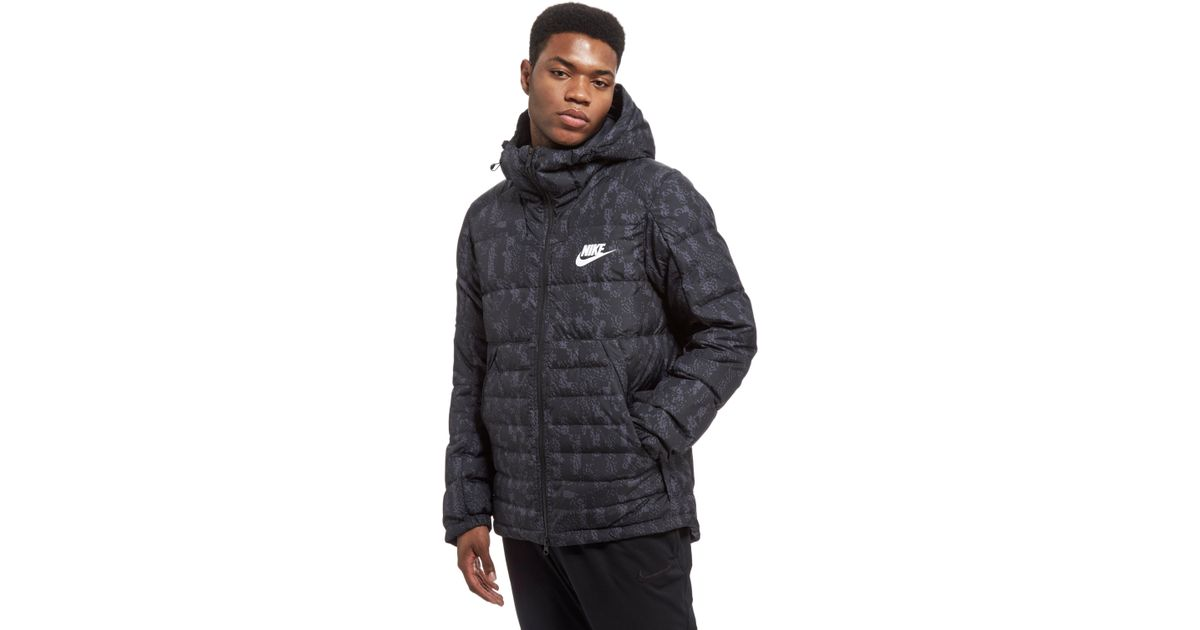 7d00831c1 Nike Black Printed Down Fill Hooded Jacket for men