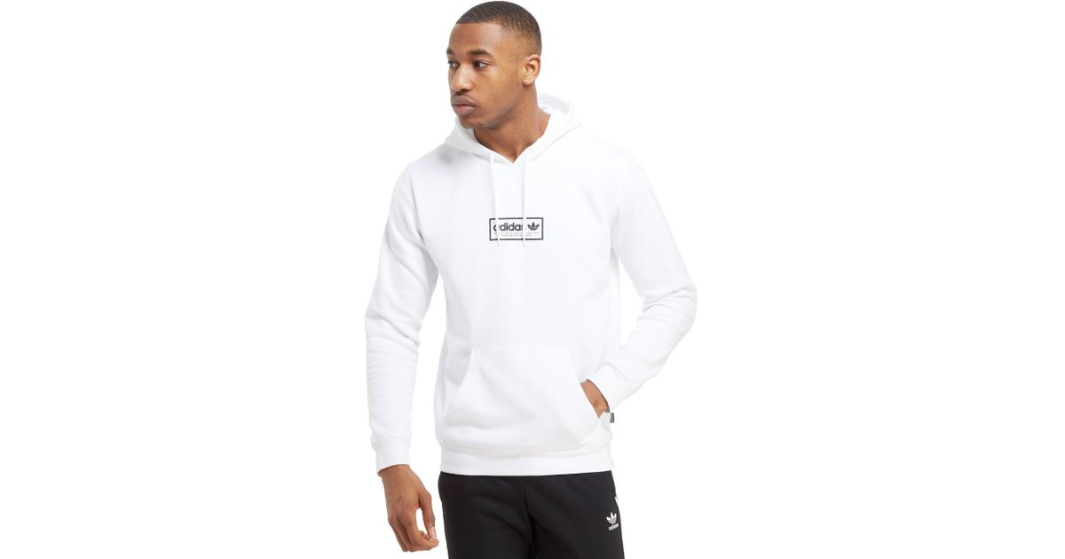 Adidas Originals White Skateboarding Spell out Overhead Hoodie for men