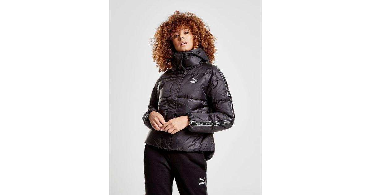0cc7003d0 PUMA Tape Hooded Jacket in Black - Lyst