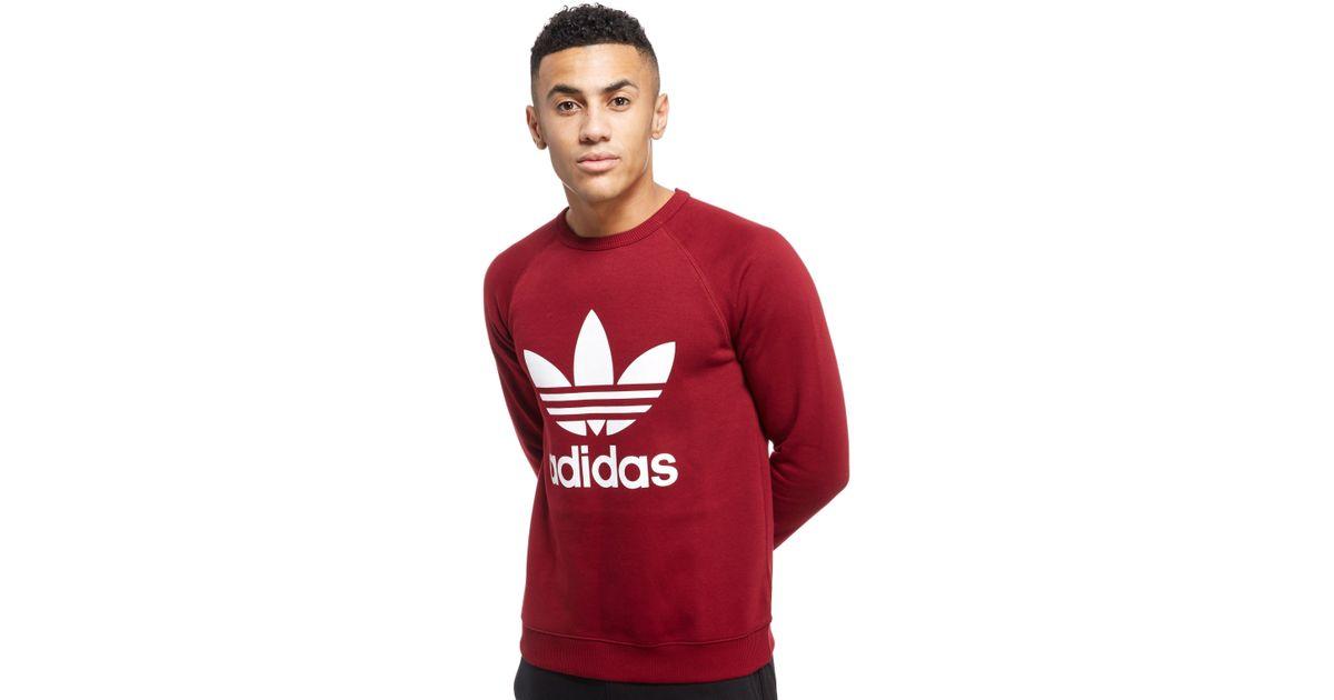 Lyst - adidas Originals Trefoil Crew Sweatshirt in Red for Men 0826f9cff49