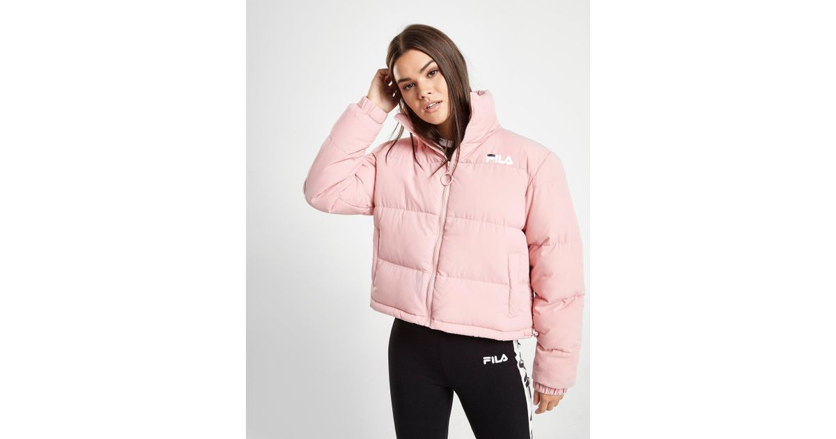 Fila Logo Crop Puffer Jacket in Pink