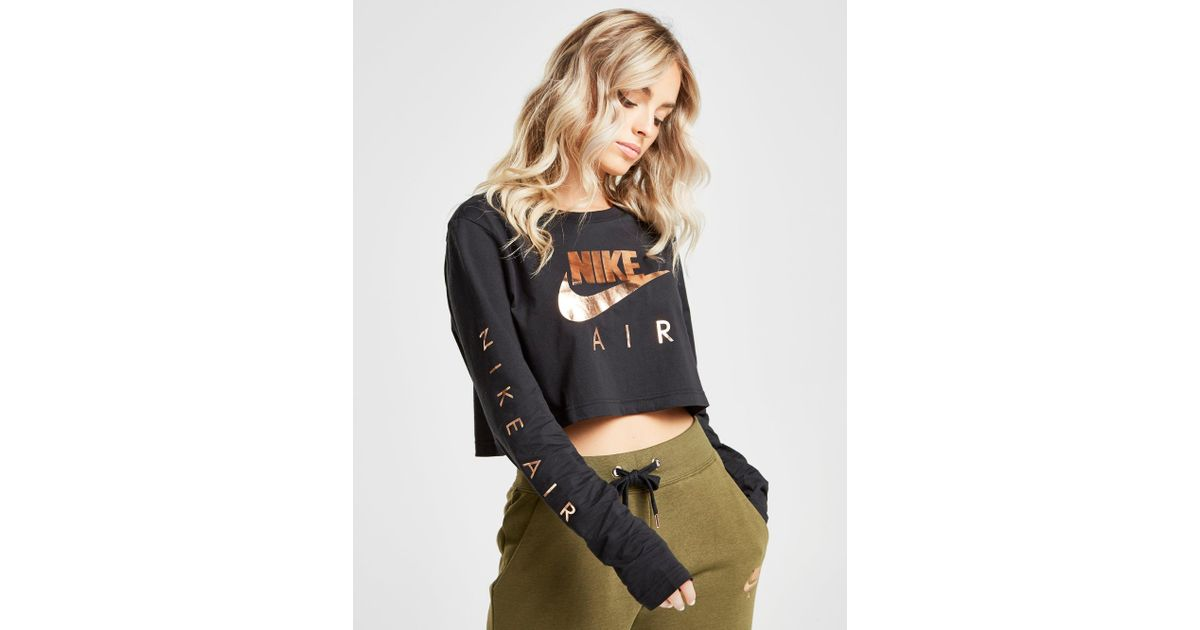 matriz Collar segunda mano  Nike Cotton Air Long Sleeve Crop Top in Black/Rose Gold (Black) - Lyst