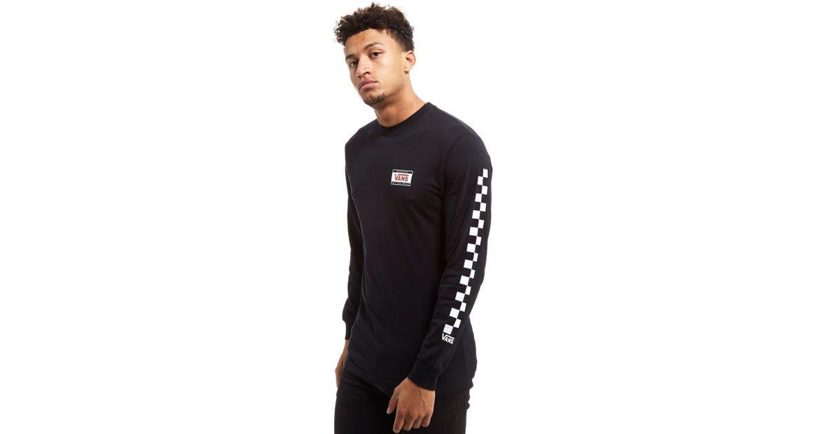 e06f29b06233 Vans Checkerboard Long Sleeve T-shirt in Black for Men - Lyst