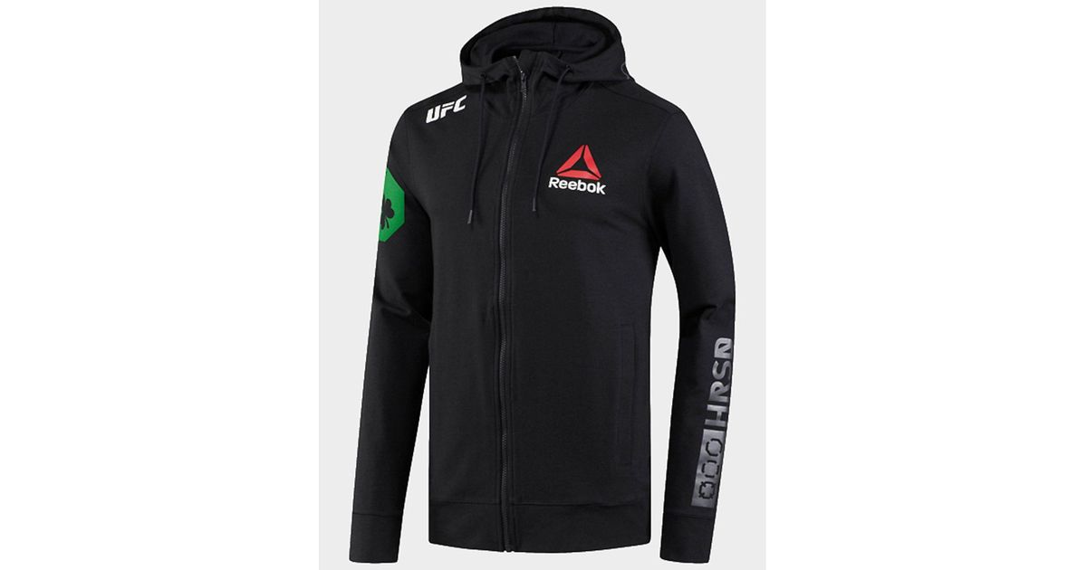 UFC BLACK //CREAM WITH GREEN ZIPS WALKOUT HOODIE BY REEBOK SIZE MEN/'S MEDIUM NEW