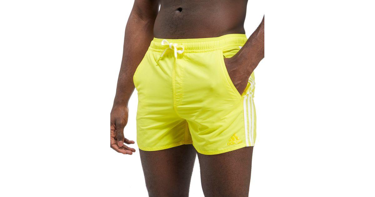 Adidas Yellow 3 stripe Swim Shorts for men