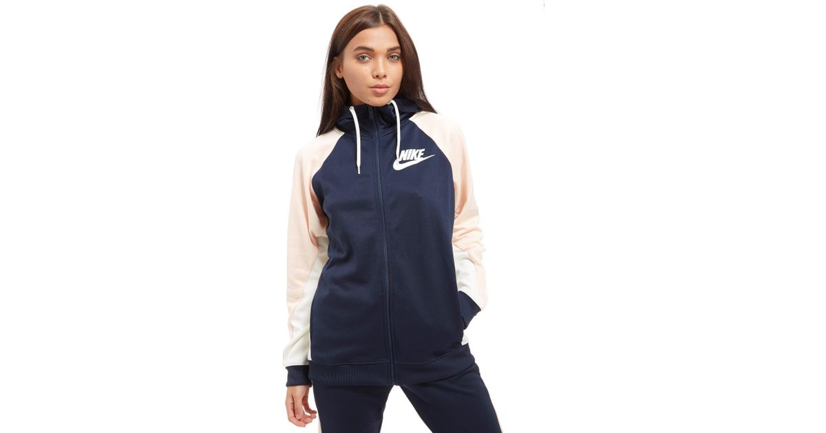 ozono Conflicto Acumulativo  Nike Synthetic Poly Colour Block Hoody in Navy/Orange (Blue) - Lyst