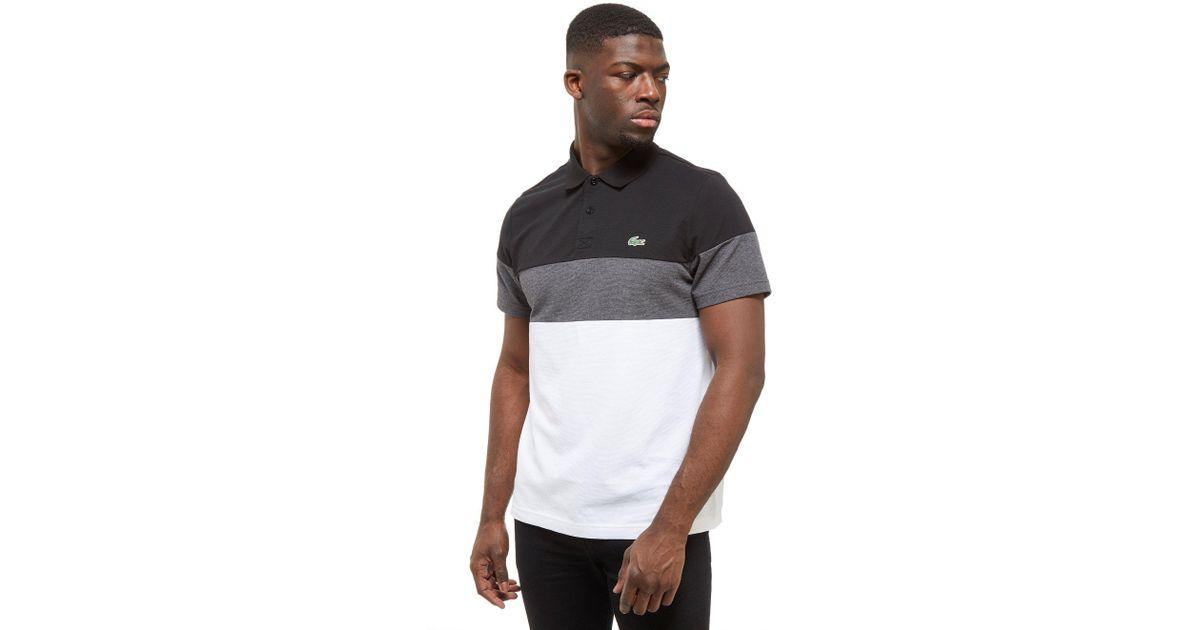 3aa87c00 Lacoste Tri Colour Block Polo in Black for Men - Lyst