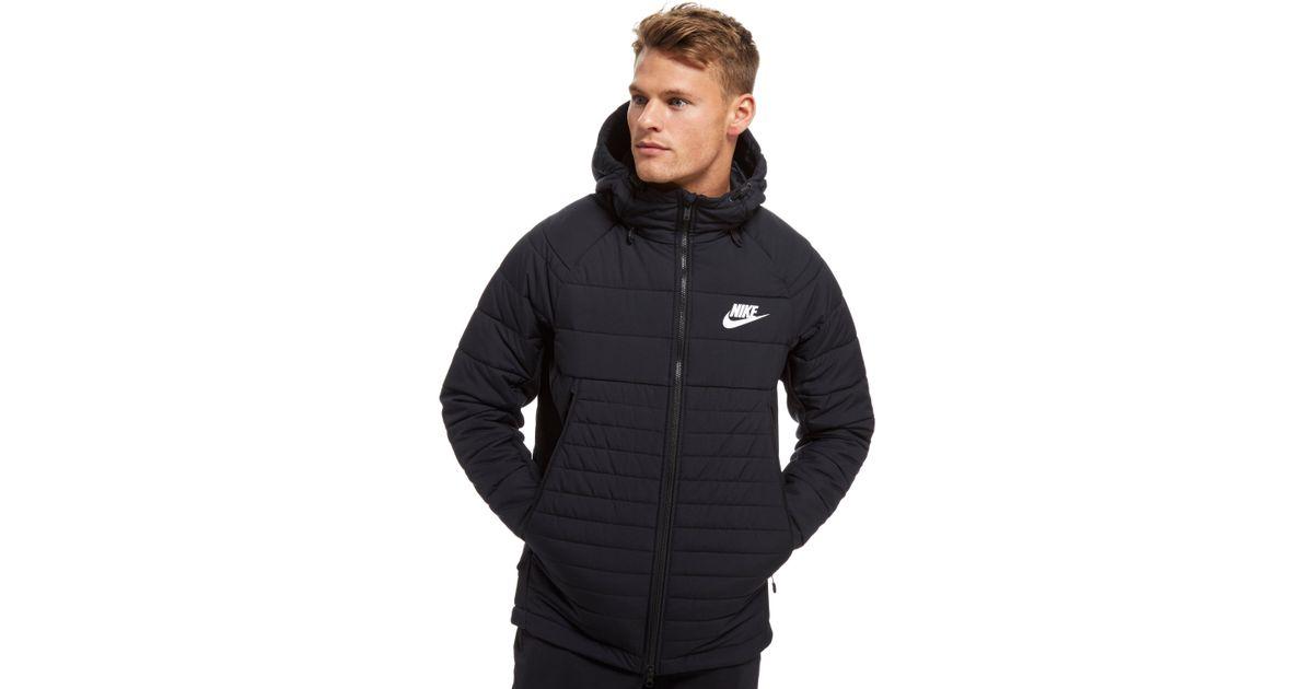 reputable site 31881 a5e14 Nike Sportswear Hooded Down Jacket in Black for Men - Lyst