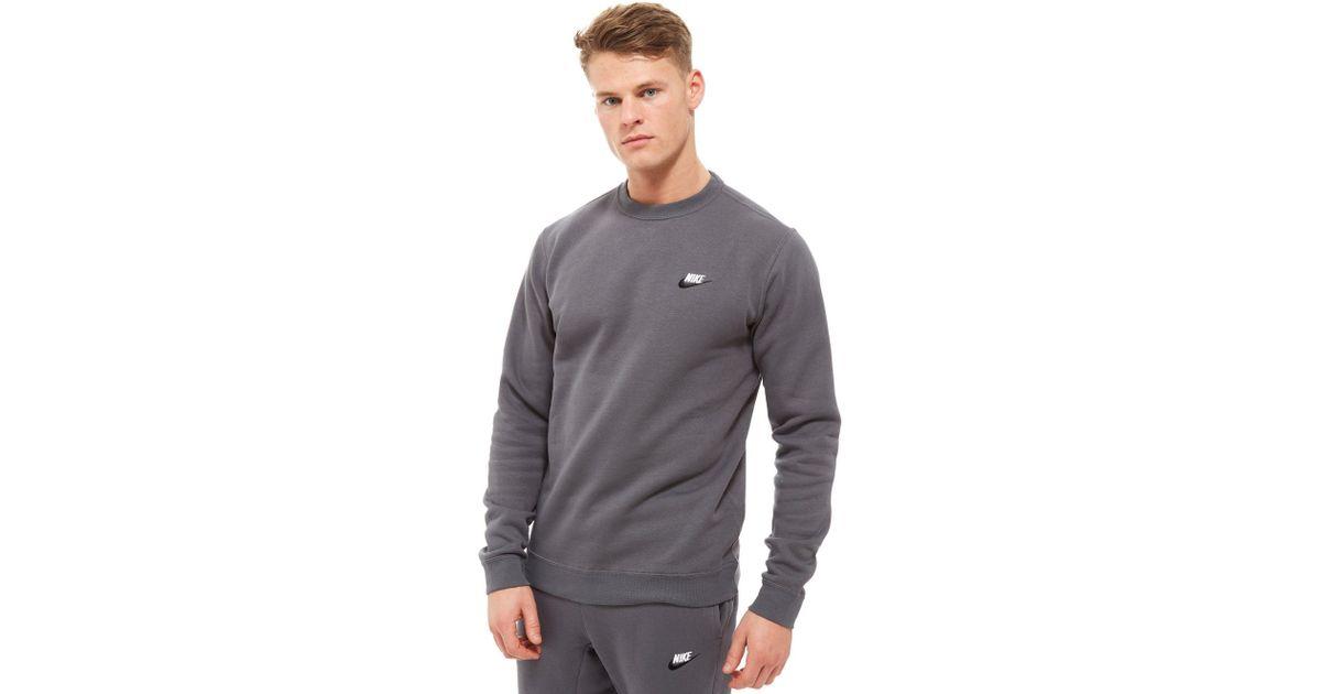 Paloma prosperidad Descripción  Nike Cotton Foundation Crew Sweatshirt in Dark Grey/White (Gray) for Men -  Lyst