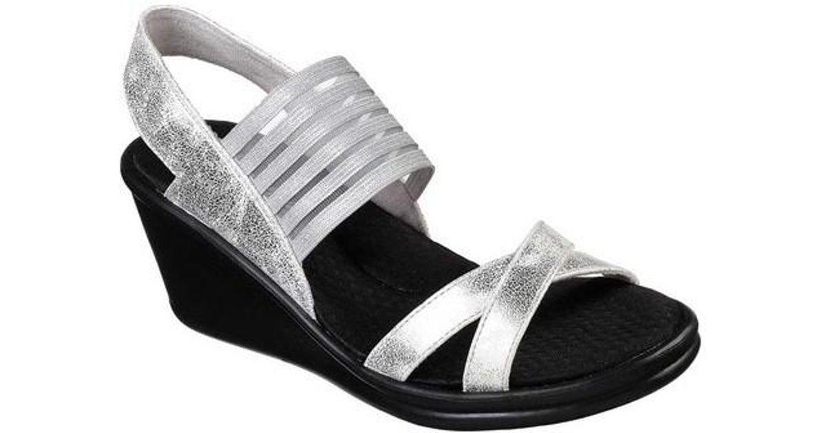 8e926ad7481a Lyst - Skechers Rumblers Glam Society Wedge Sandal in Metallic