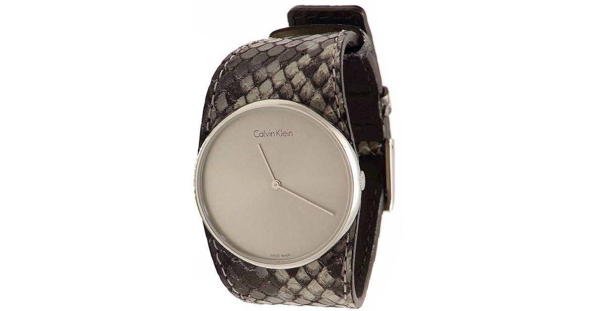 Lyst - Calvin Klein Ck K5v231q4 Spellbound Grey Leather Round Analog Watch  in Gray f059fd201dd