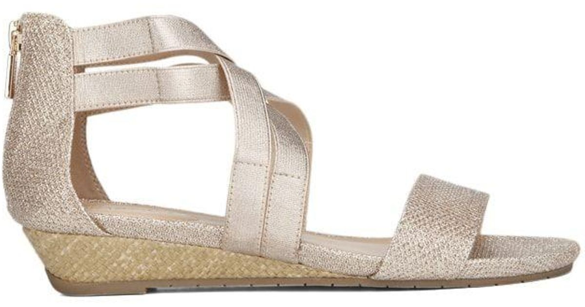 55997f245f Lyst - Kenneth Cole Reaction Kenneth Cole Great Stretch Fabric Wedge Sandal