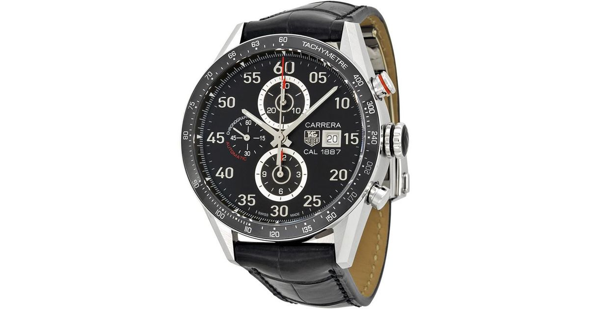 428d0b5b24d9f Lyst - Tag Heuer Carrera Calibre 1887 Automatic Chronograph Dial Stainless  Steel Watch Car2a10fc6235 in Black for Men