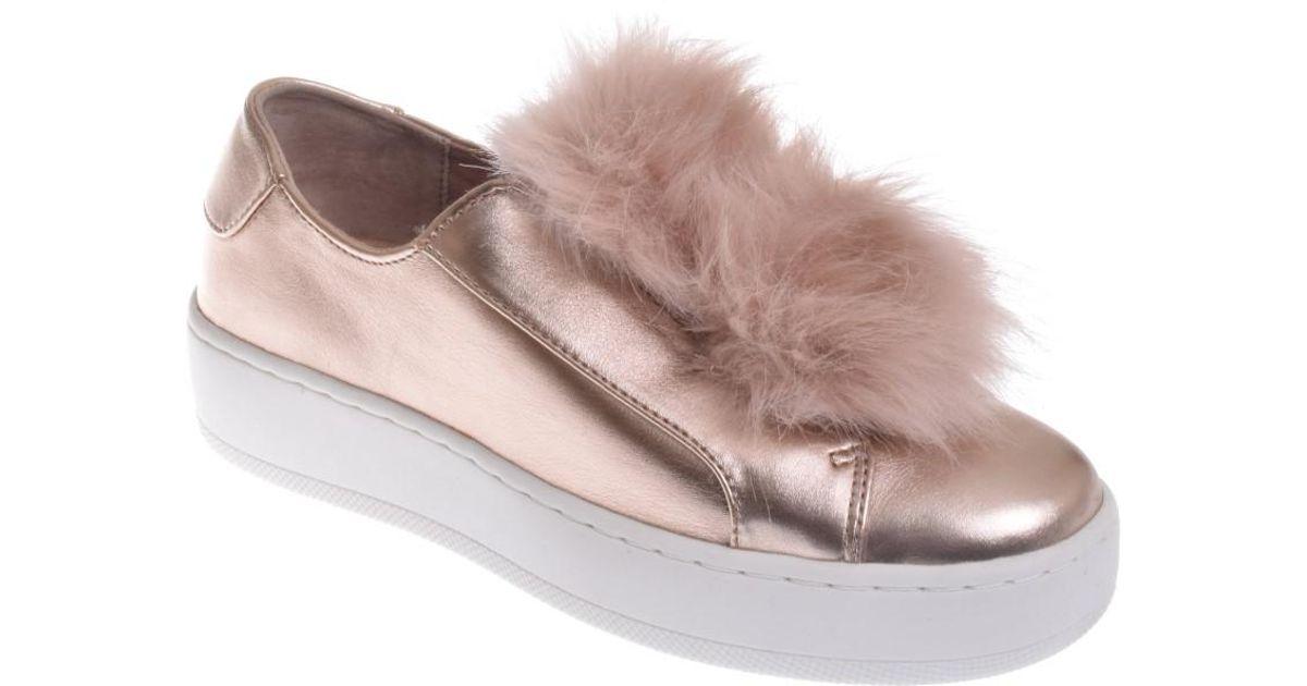 Lyst - Steve Madden Breeze Fur Pom-pom Platform Sneaker- Rose Gold in Pink