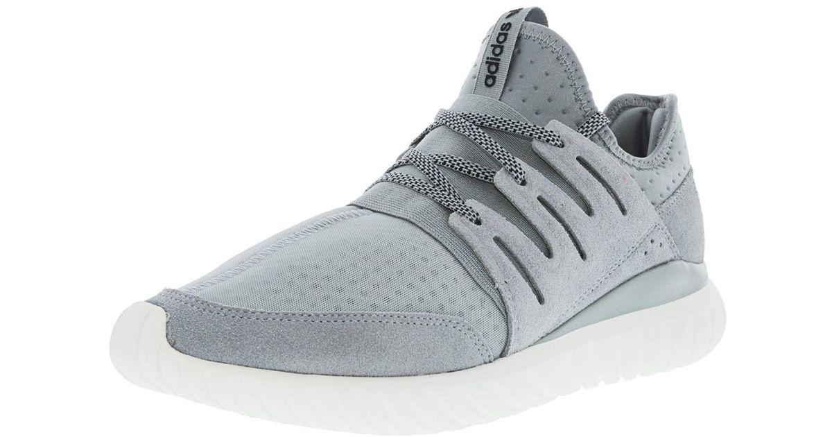 ... inexpensive lyst adidas tubular radial light grey core black vintage  white ankle high fabric fashion sneaker b3cf58111