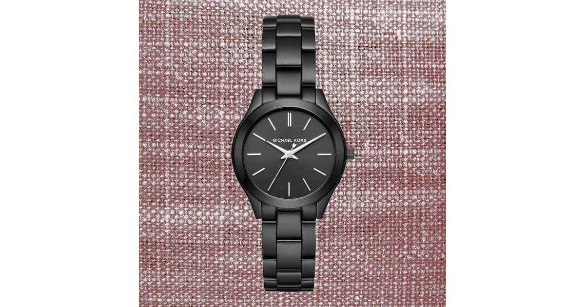 02a696748193 Lyst - Michael Kors Nwt❤️inbox Mk3587 Mini Slim Runway Black Stainless Steel  33mm Watch in Black