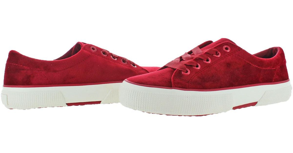 5fcd4e09c Lyst - Polo Ralph Lauren Lauren Ralph Lauren Jolie Velvet Fashion Sneakers  Shoes in Red