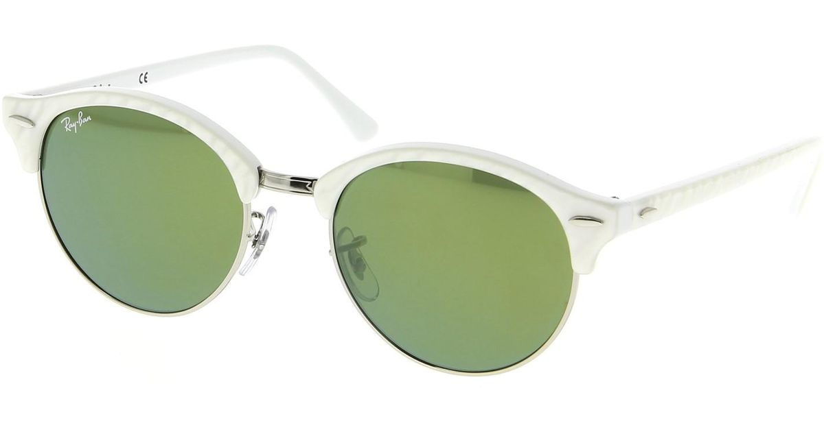 f528fb3d91 Lyst - Ray-Ban 0rb4246 988 2x 51 Top Wrinkled White On White green Mirror  Green Icons Sunglasses in White