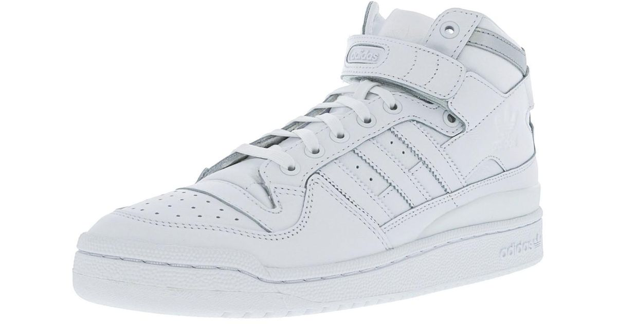 Adidas Forum Mid Refined Footwear White Silver Metallic Mid top Leather Basketball Shoe 9m for Men Lyst