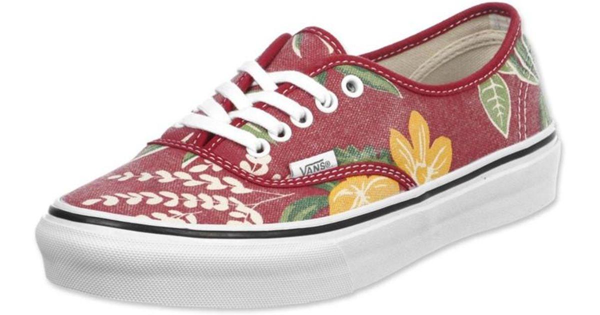 d0f8e40295 Lyst - Vans Unisex Authentic Slim Van Doren Sneakers Redhawaiian M3.5 W5 in  Red