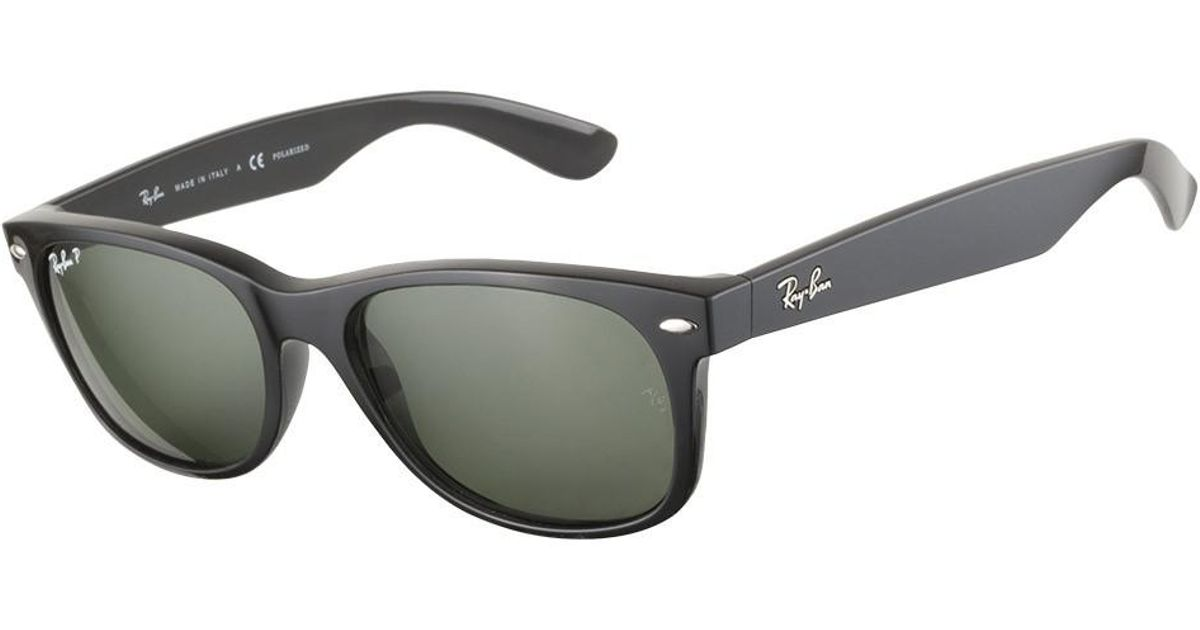 2d9c2fc5425 ... buy lyst ray ban 0rb2132 901 58 58 black crystal green polarized new  wayfarer icons sunglasses