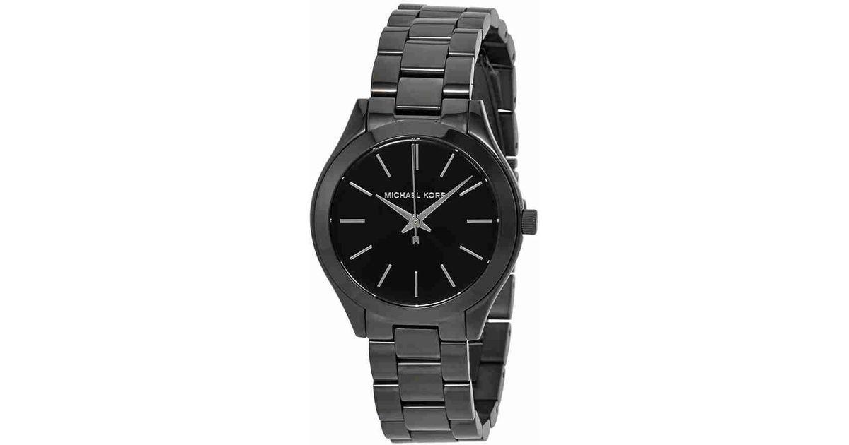 bbbfb26f37f2 Lyst - Michael Kors Slim Runway Watch Mk3587 in Black