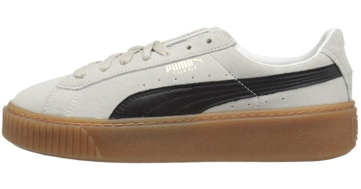 f241092d318c80 Lyst - PUMA 363559-01   Suede Core Platform Sneaker Whisper White Black  (6.5 B(m) Us) in White