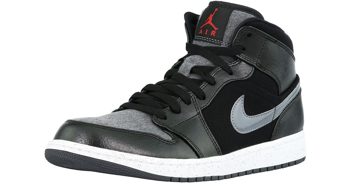 fea81e707c Lyst - Nike Air Jordan 1 Mid Prem Black   Gym Red-dark Grey-white  Ankle-high Leather Fashion Sneaker in Black for Men