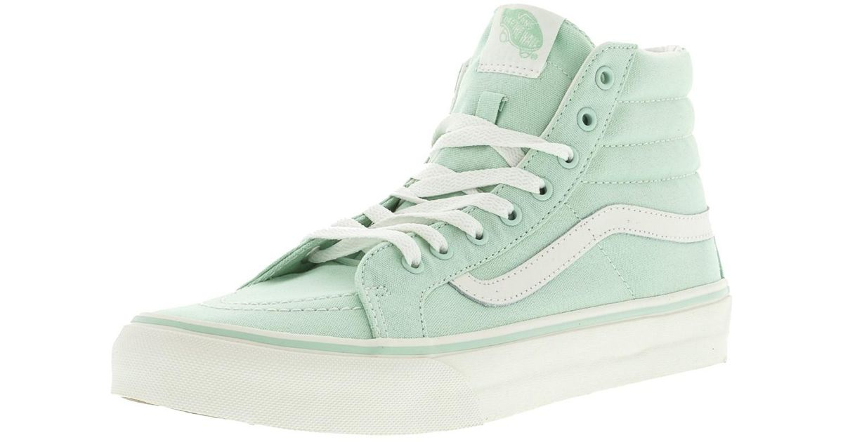 ab13c3a7be Lyst - Vans Sk8-hi Slim Gossamer Green   Blanc De Ankle-high Canvas  Skateboarding Shoe - 9m 7.5m in Green for Men
