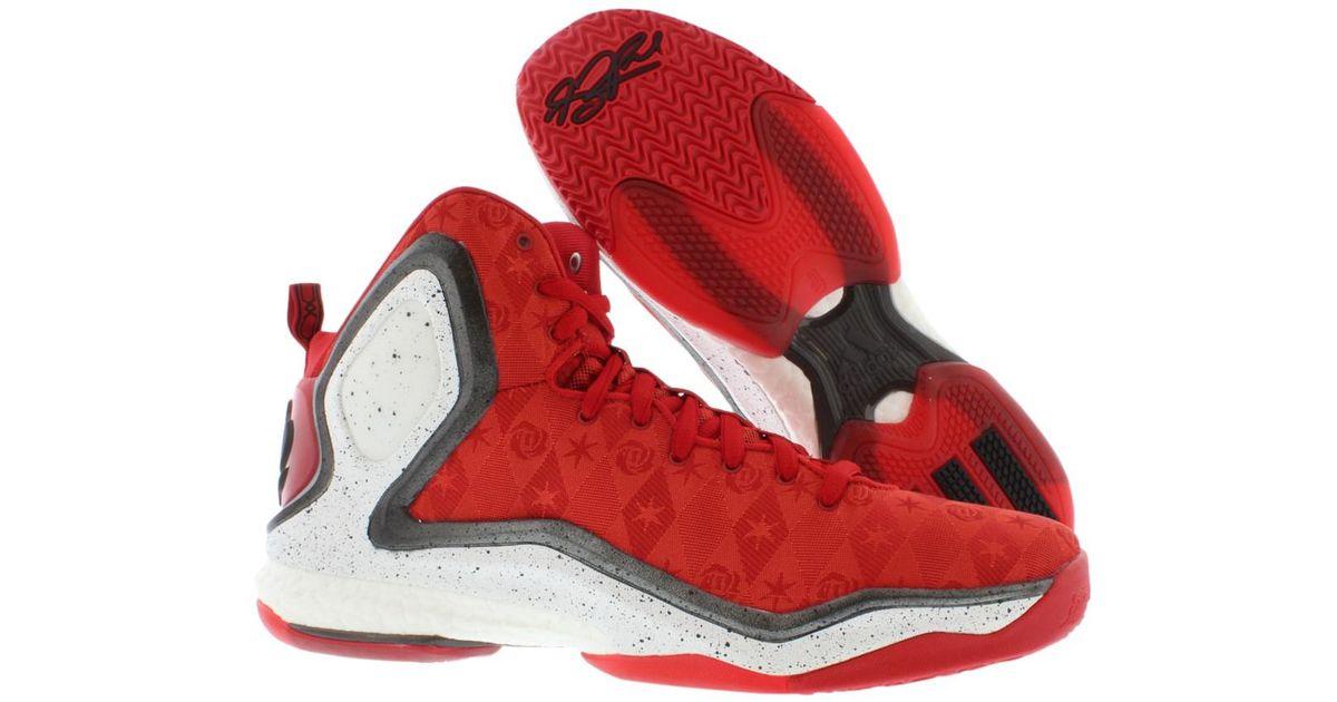 adidas Performance D Rose 5 Boost J Kids' Basketball Shoe (Big Kid), ScarletSolar Blue, 5.5 M US Big Kid