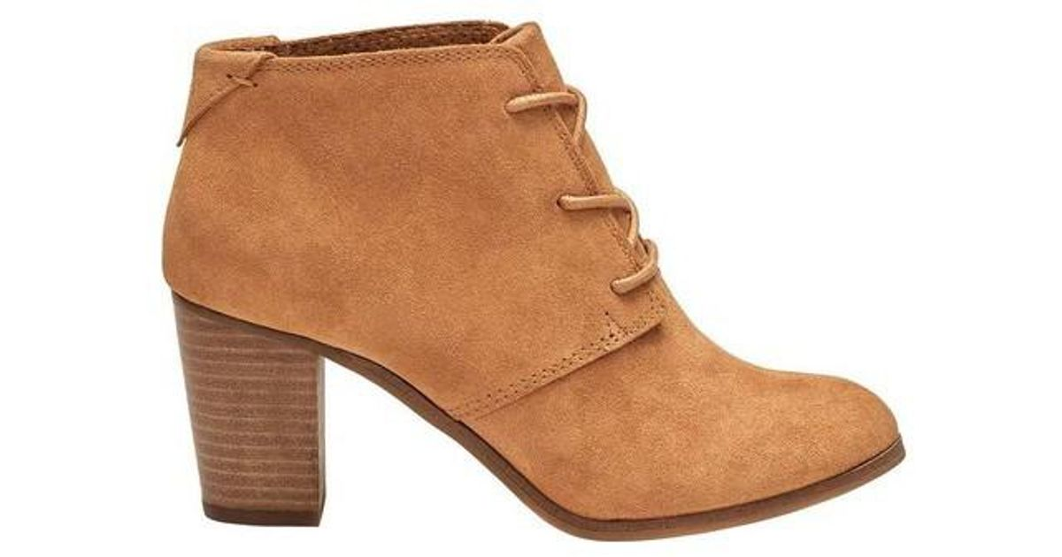 5ae0e8b0468 Lyst - TOMS Lunata Lace-up Suede Bootie in Brown