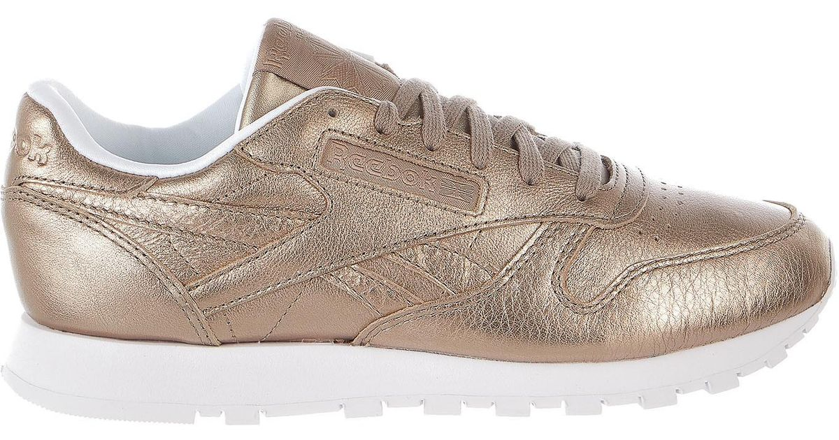 4ace38870e101 Lyst - Reebok Classic Leather Melted Metal Gold white Running Shoes Bs7898  in Metallic